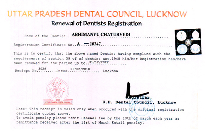 Dr  Abhimanyu Chaturvedi - Best Cosmetic Dentist and